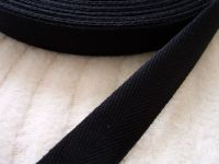 20mm Wide Black Cotton Apron Tape Sold Per Half Metre Length