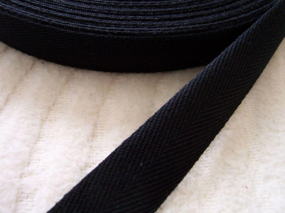Black Cotton Webbing Tape 20mm Wide