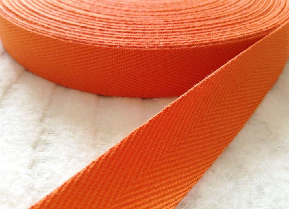Orange Herringbone Pattern Woven Cotton Webbing