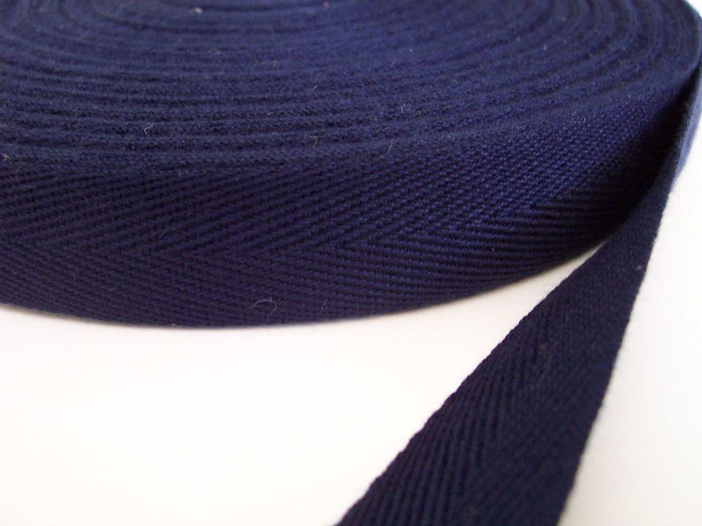 Dark Blue Webbing - Woven 20mm Wide Herringbone Tape