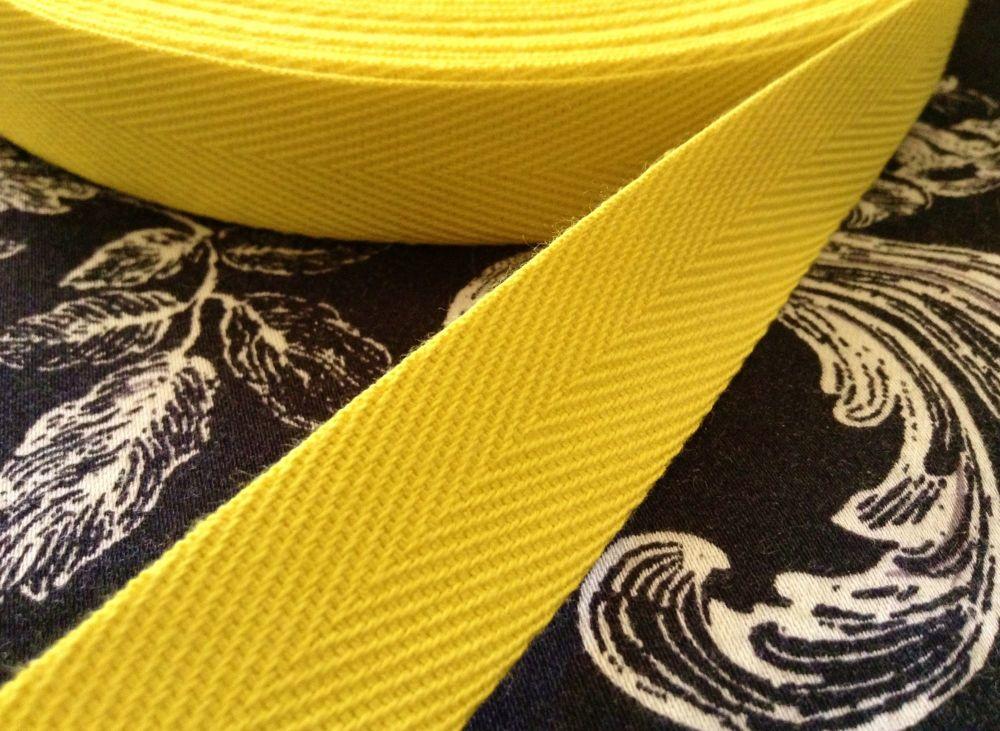 Lemon Yellow Cotton Webbing Tape 20mm Wide - Per Metre