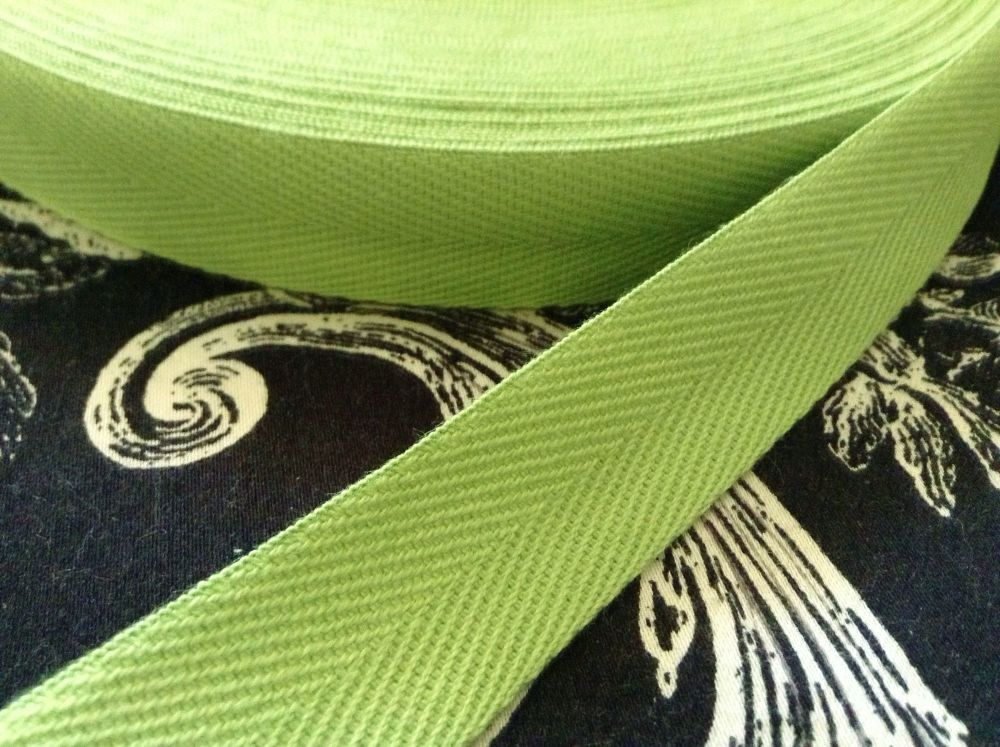 """Bright Green Cotton Tape 3/4"""" Wide - Aprons Bunting Bags"""