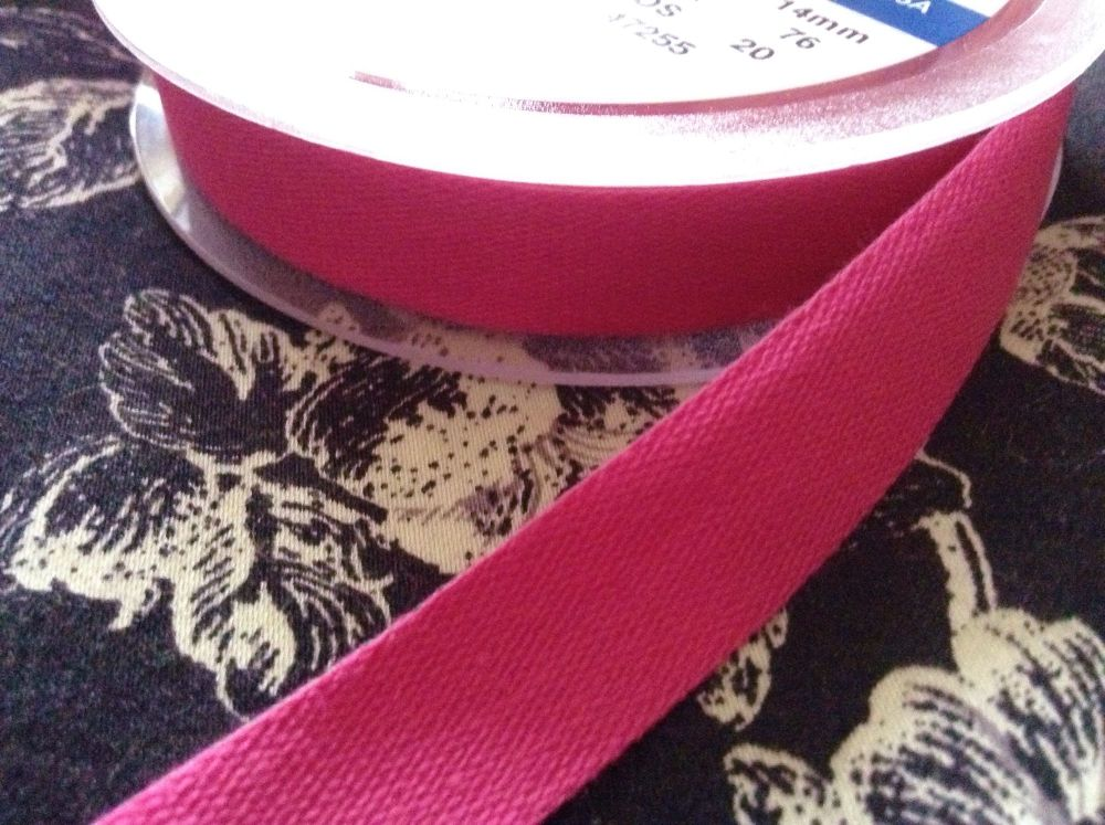 Bright Pink Cotton Sewing Tape 14mm Hot Pink Woven India Tape Fuschia
