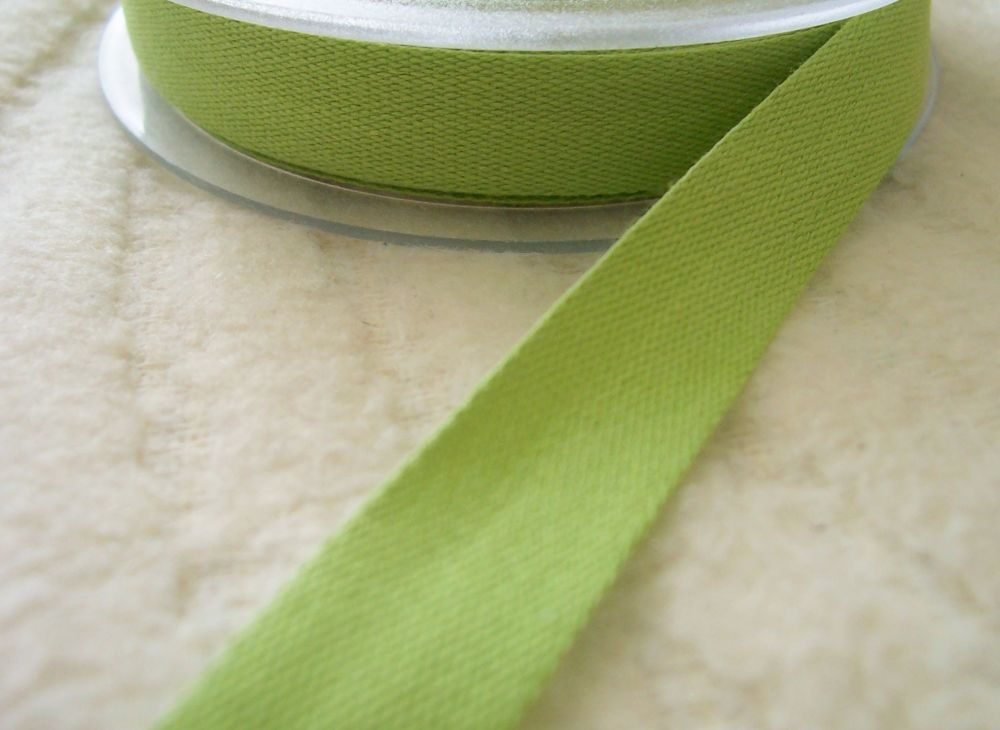 Lime Green Cotton Tape Aprons Cushion Ties 14mm Celery Green