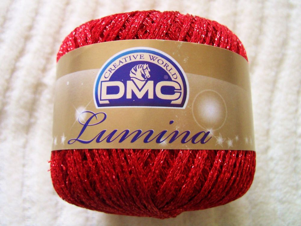 Red DMC Lumina Metallic Thread L666 Crochet Knitting Yarn 20g Ball