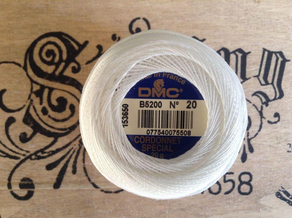 DMC Thread Cordonnet Cotton No. 20 White Lacemaking Crochet Yarn