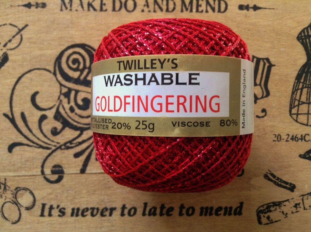 Twilleys Goldfingering Knit Crochet Yarn Red 25g