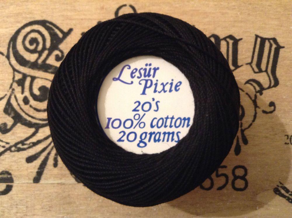 Number 20 Crochet Thread - Lesur Pixie Black Cotton