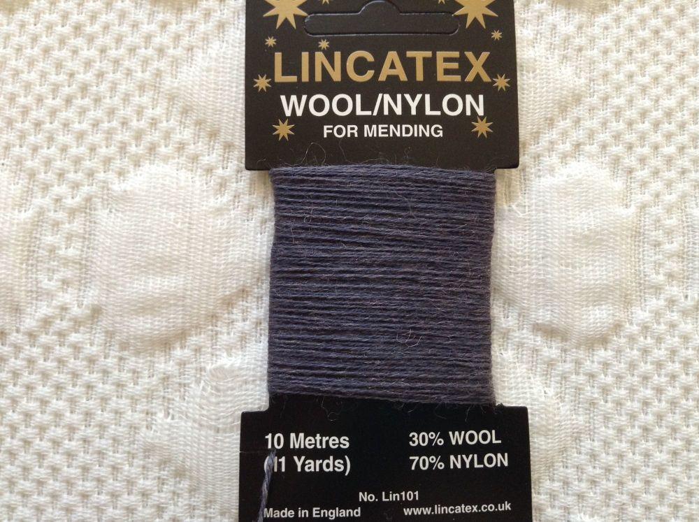 10 metres Lincatex sock darning wool mid blue