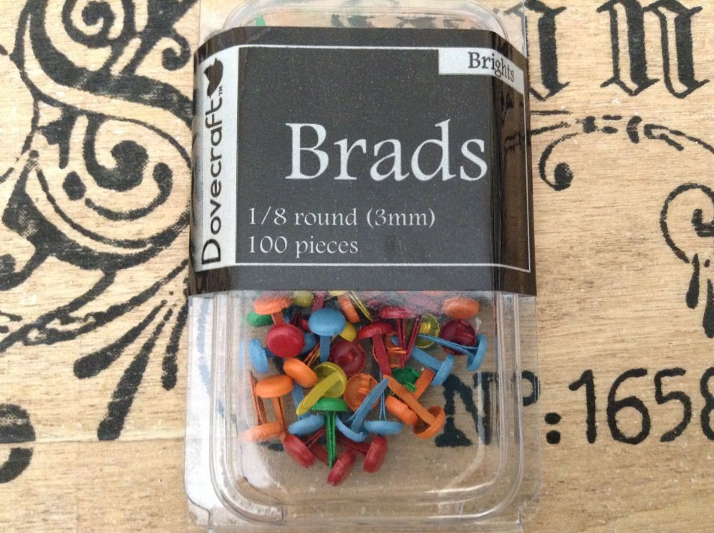 Dovecraft Brads - Two Packs 3mm Bright Colours