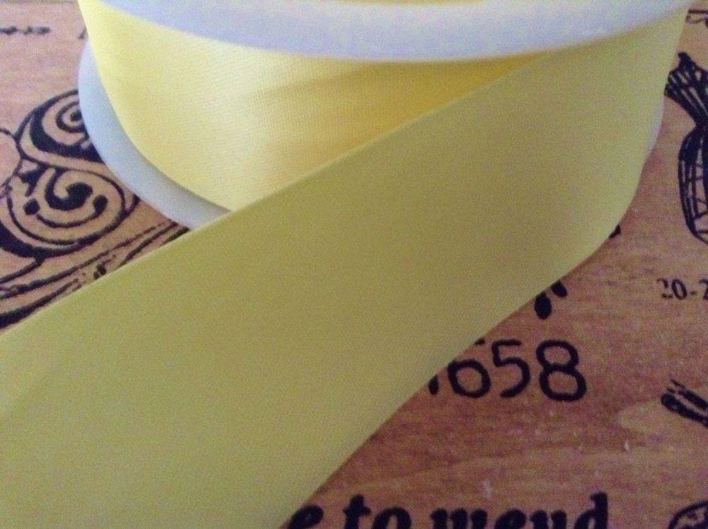 Satin Blanket Binding Lemon Yellow Pre Folded Sold By Half Metre