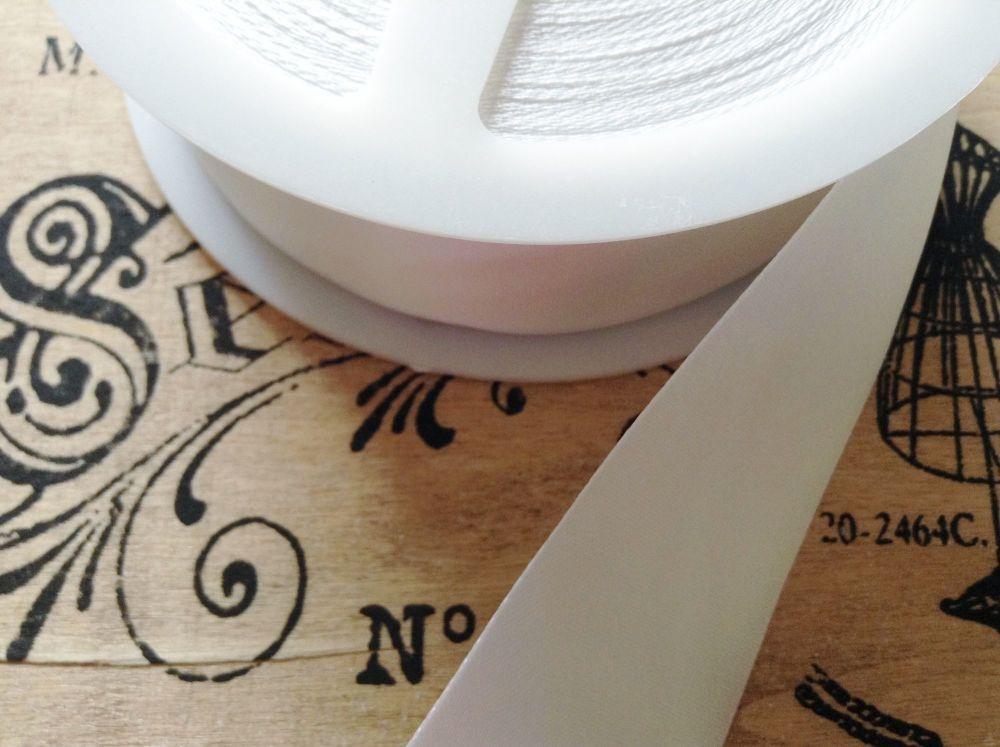 satin blanket binding ribbon 3 metres x 72mm (folded) WHITE CB14F/001