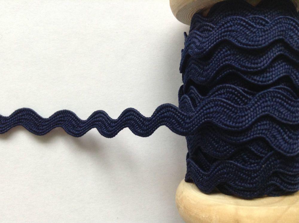 Ric Rac Ribbon Trim Navy Blue 7mm Wide Braid Sold Per Metre