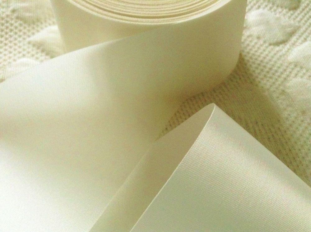Cream Blanket Binding Ribbon Satin Fabric 72mm Trim Bridal Crafts 1m