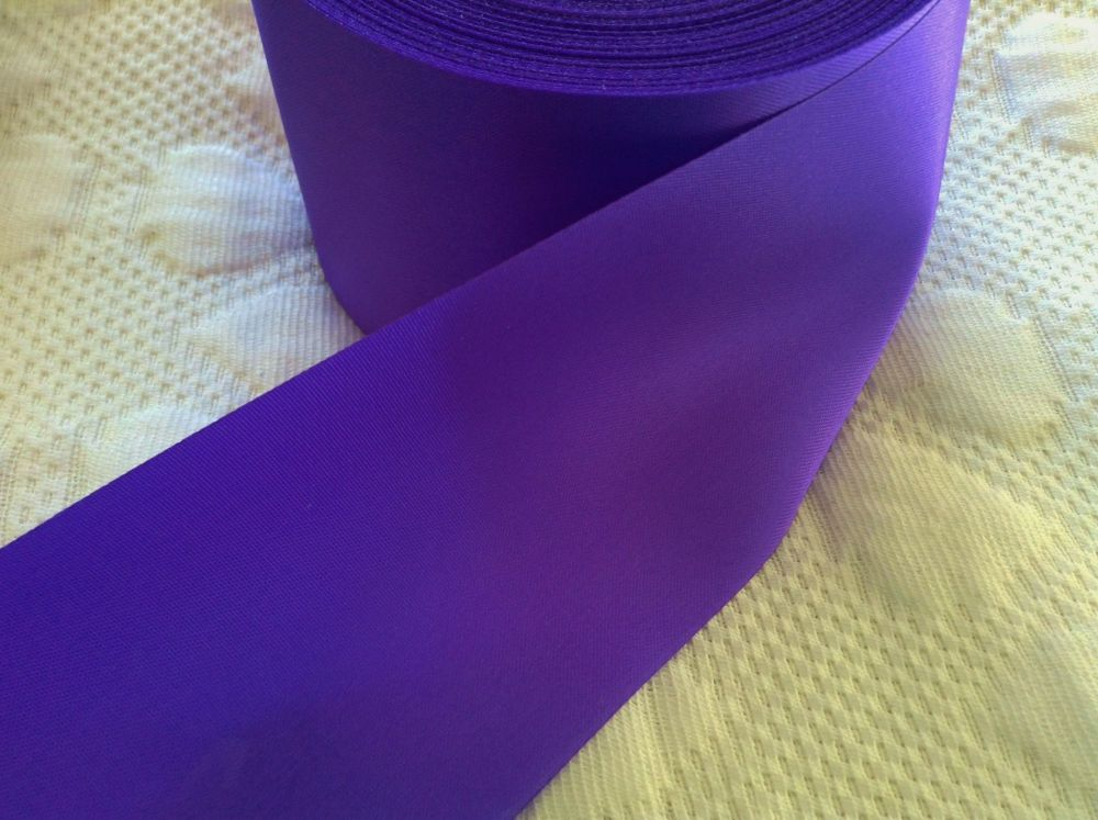 Purple Satin Ribbon 72mm Wide Sold By The Half Metre