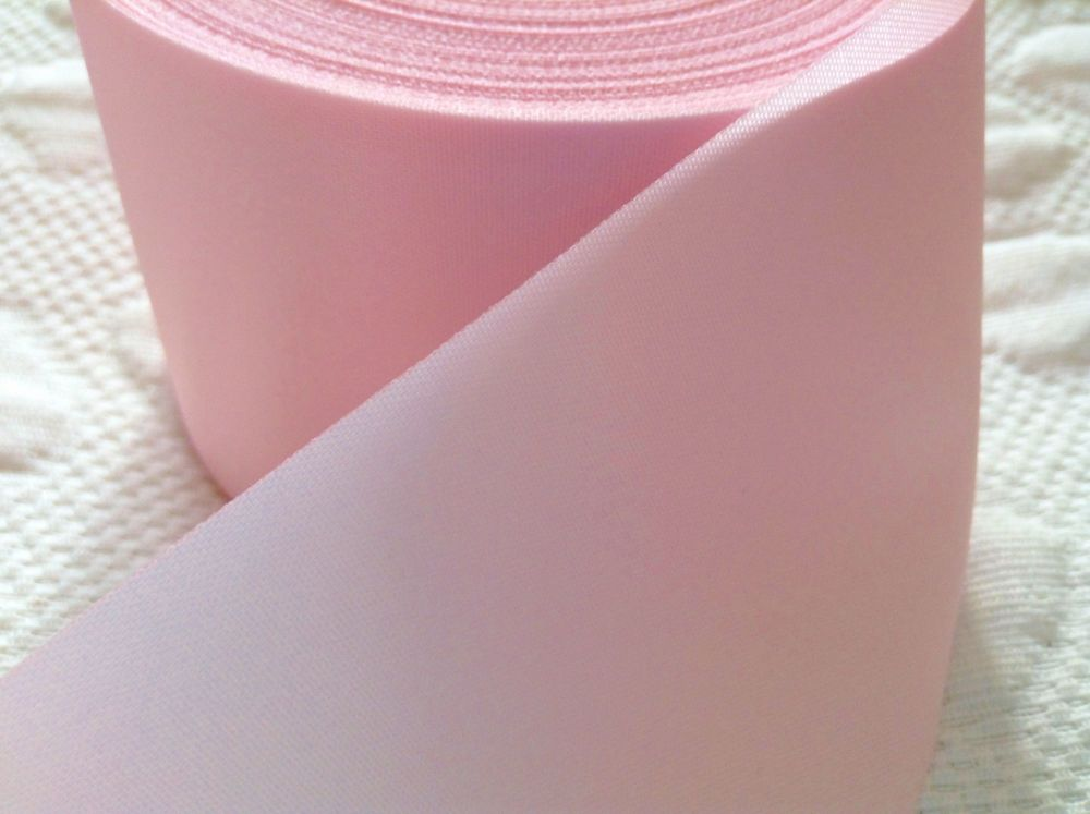 Baby Pink Satin Ribbon 72mm Wide Sold By The Half Metre
