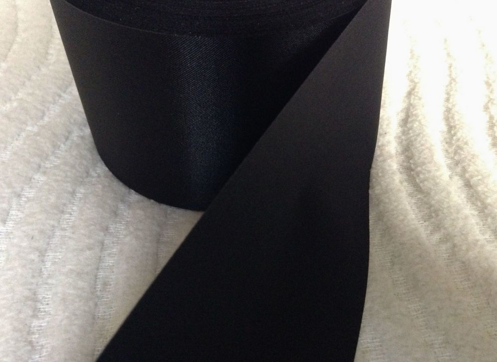 Black Satin Ribbon 72mm Wide Sold By The Half Metre