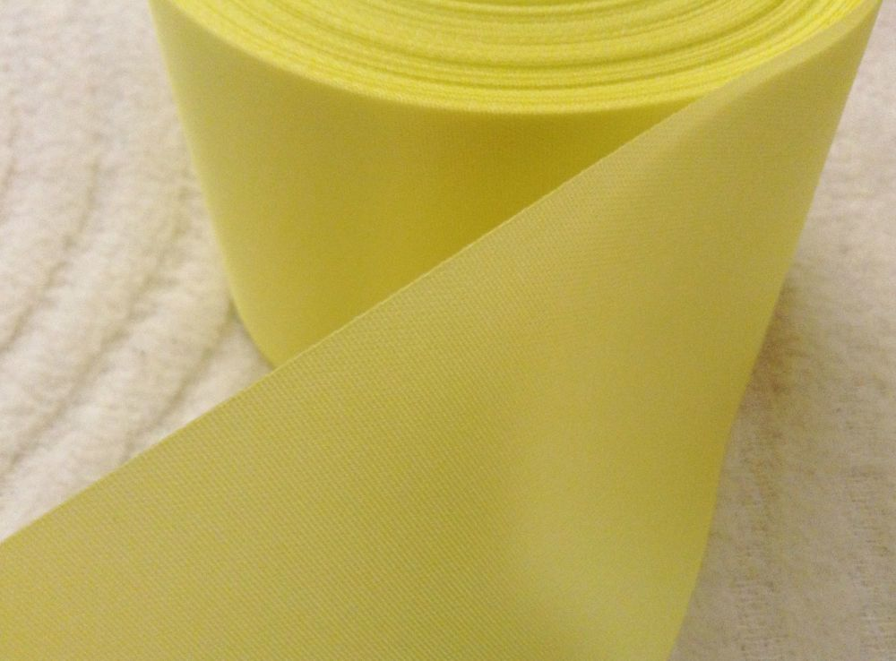 Blanket Binding Ribbon 72mm Wide 013 Lemon Yellow Satin Trim 1 Metre