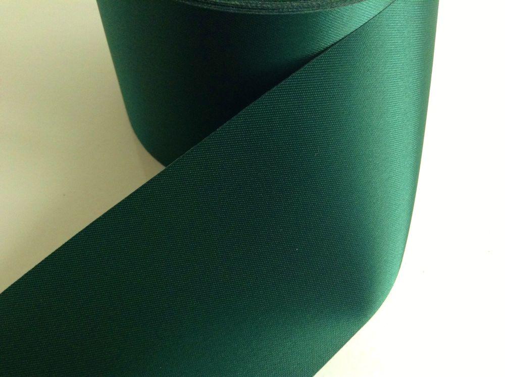 Green Satin Blanket Binding Ribbon 72mm Bottle Green Fabric Trimming