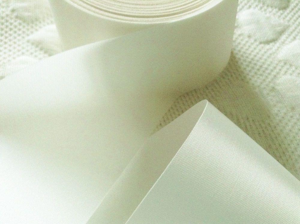 Ivory Blanket Binding Ribbon 72mm Off White Satin Fabric Trimming 1m