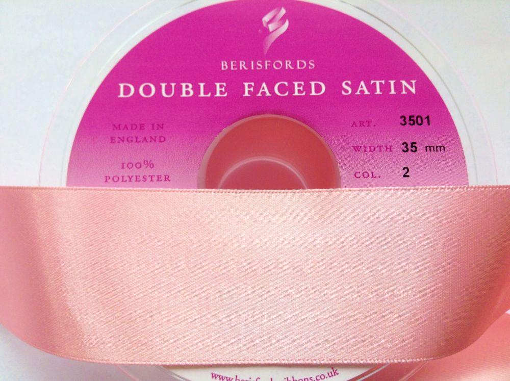 Baby Pink 35mm Wide Satin Ribbon - Berisfords