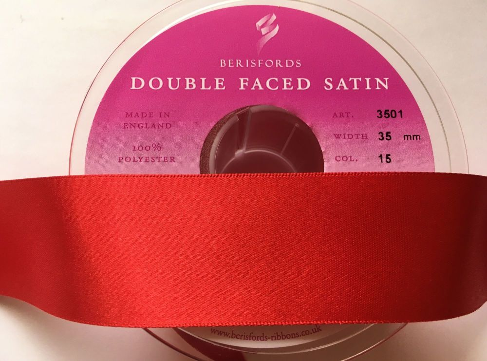 Berisfords Ribbon 20 Metres x 35mm Red Double Faced Satin