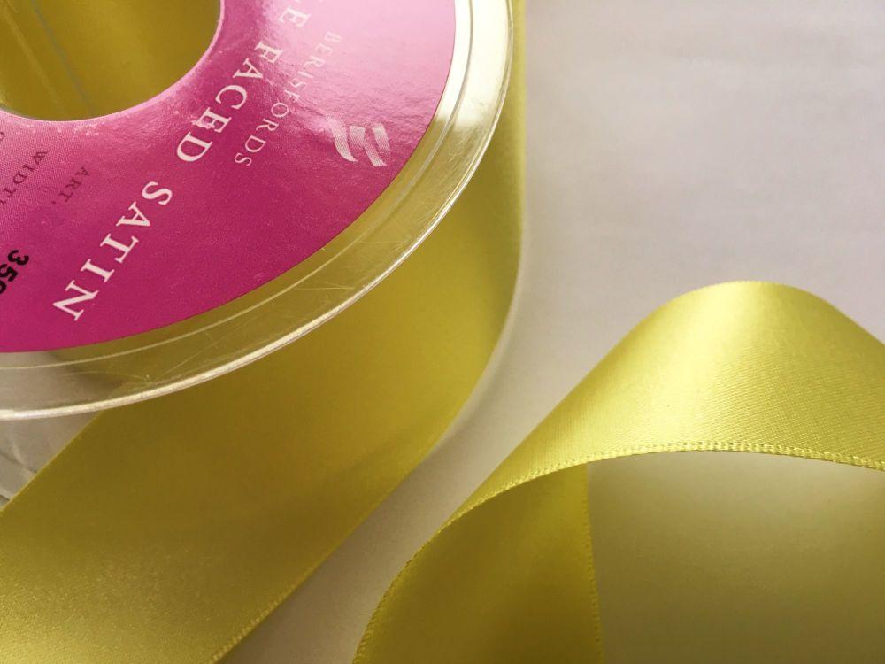 Lemon Satin Ribbon 35mm Berisfords 005 Half Metre Length