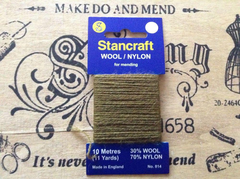 10 Metres of Stancraft Sock Darning Wool: Khaki