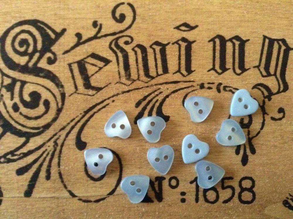 Blue Heart Sewing Buttons 11mm