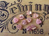 Pink Heart Shape Buttons, Set of 10 x 11mm