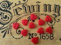 Red Heart Shape Buttons, Set of 10 x 10mm