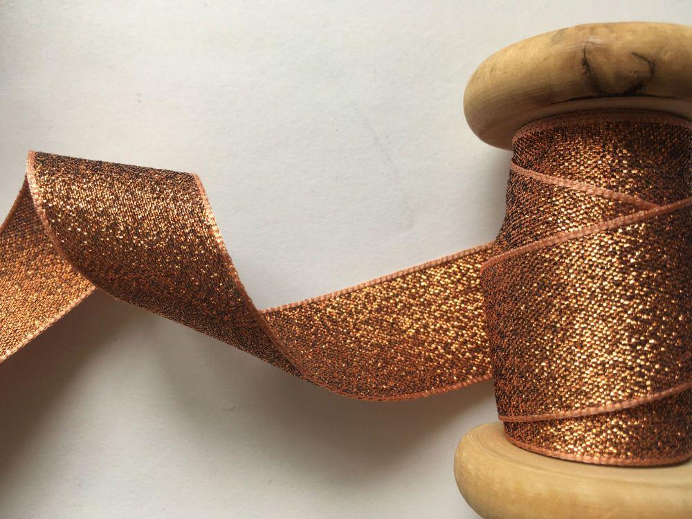 Berisfords Dark Gold Copper Colour Lame Ribbon 1mtr x 25mm