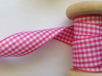 Gingham Check Ribbon - Berisfords Shocking Pink 7391-072