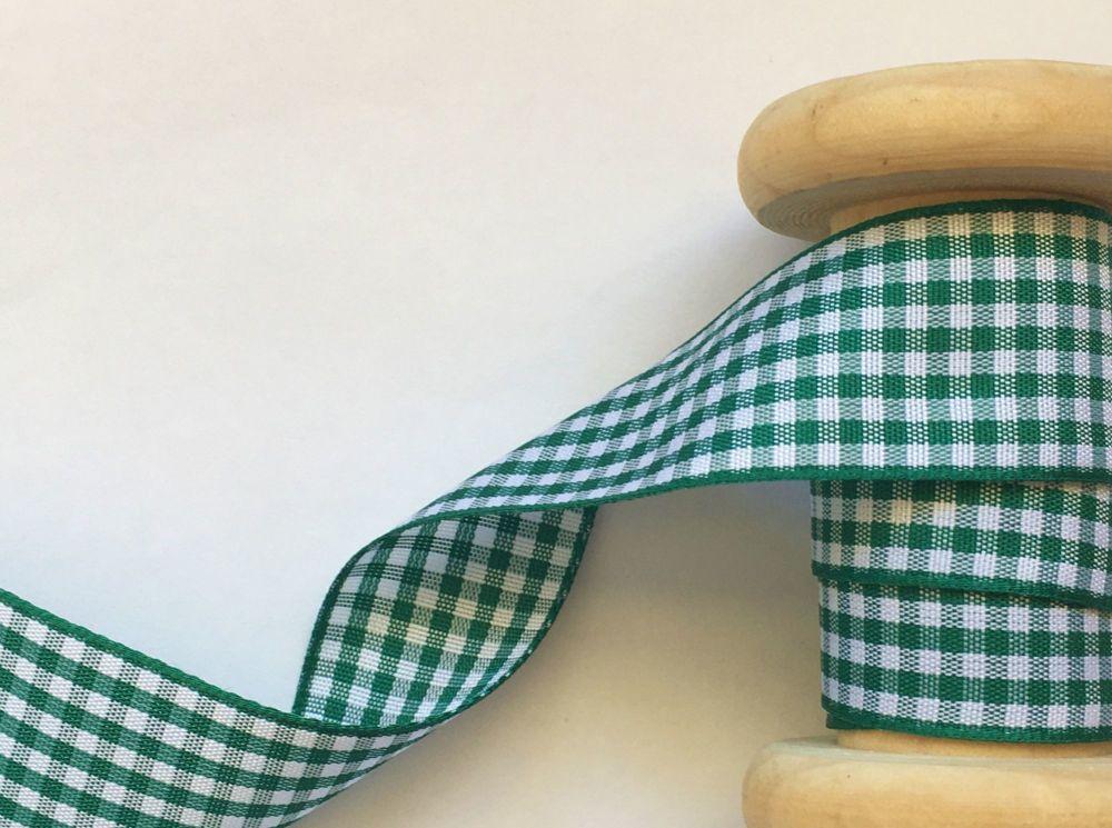 hunter green gingham check ribbon 25mm x 1 metre Berisfords 7391/455