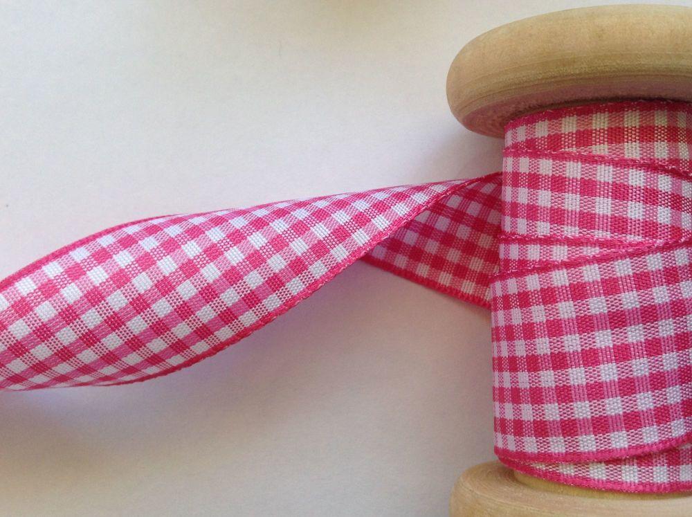 Berisfords Ribbon - Pink Gingham Check 20 Metre Reel