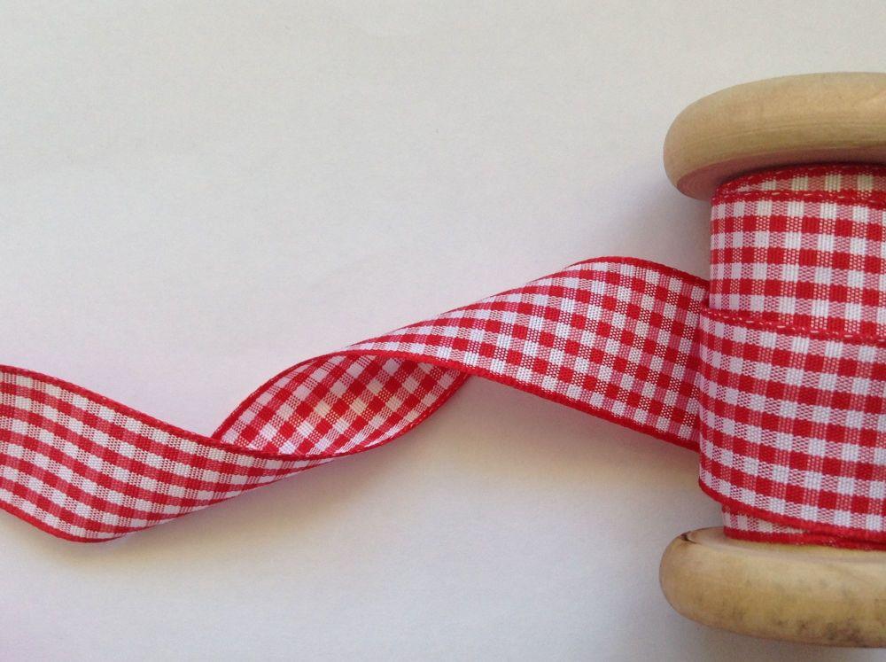 Red Gingham Check Ribbon 20 Metre Reel - Berisfords 7391