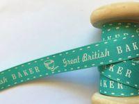 Berisfords Great British Baker Printed Ribbon Mint White Motifs 15mm