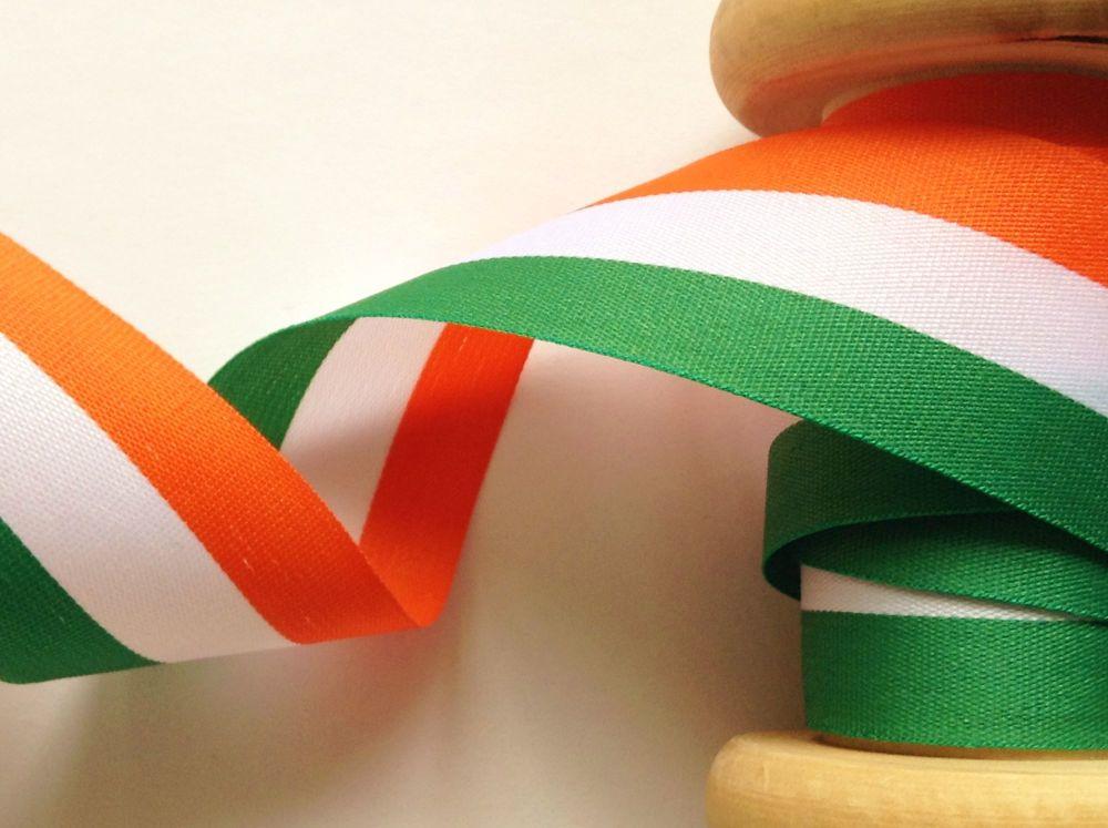 Orange White Green Tri Colour Ribbon Patriotic Fabric Trim 40mm Irish