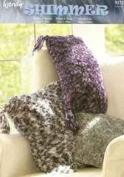 wendy shimmer knitting pattern 5172 cushions x 3 sizes