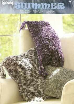 wendy shimmer knitting pattern 5172 cushions x 3 sizes