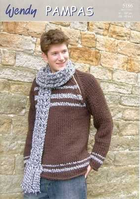 Wendy Pampas Knitting Pattern Round Neck Sweater and Scarf 5186