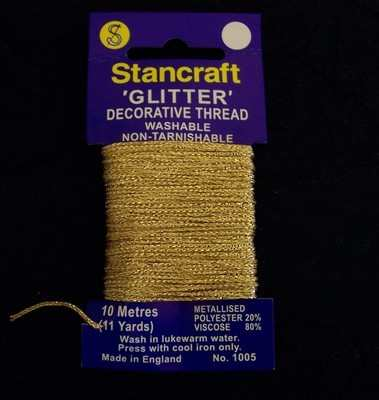 Stancraft Decorative Glitter Thread GOLD 10 Metres