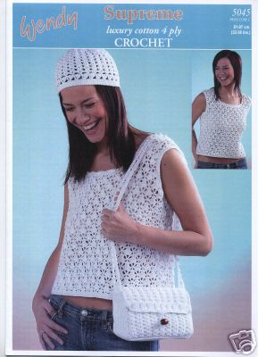 Wendy Supreme Cotton Crochet Pattern 5045, Top, Beanie, Bag