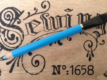 2 Fabric Marking Pencils With Brush BLUE