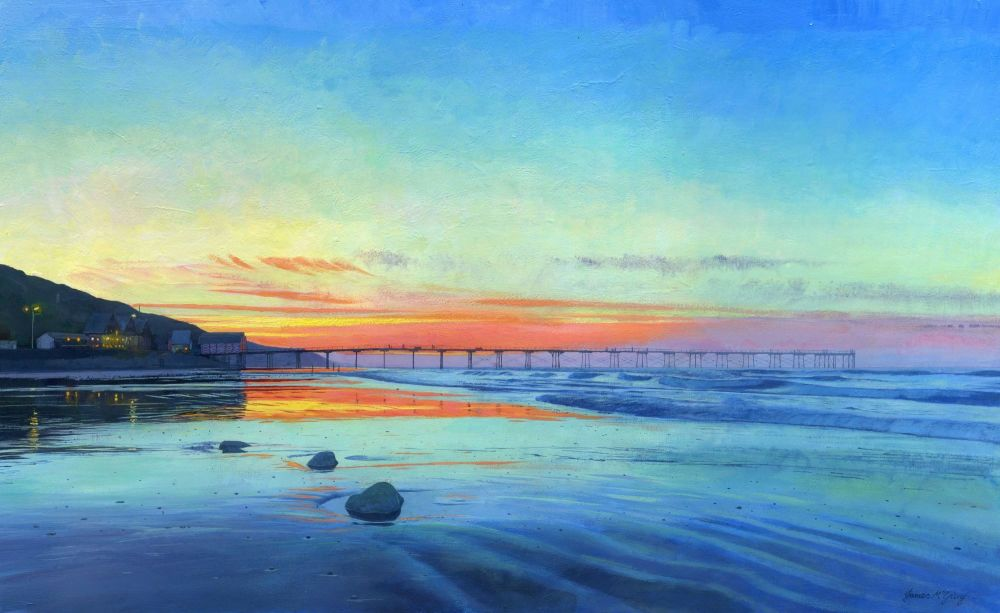 1.7.0 Saltburn Sunset 2017 acrylic. 560mm x 360mm SOLD