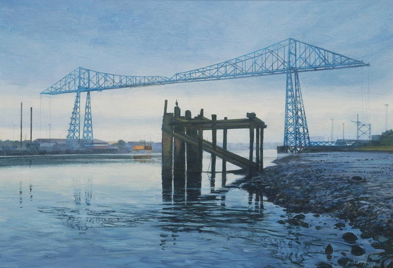 018 Transporter Bridge, August Morning.. Acrylic. 2011. 360mmx250mm
