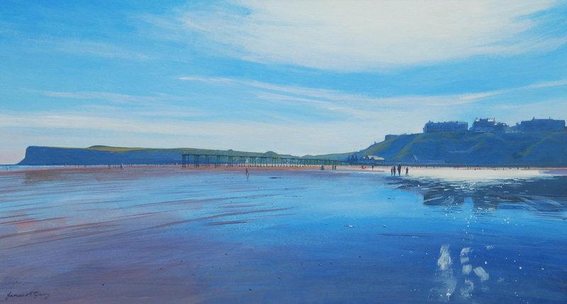 020 Saltburn Beach. Acrylic. 2011. 375mmx200mm