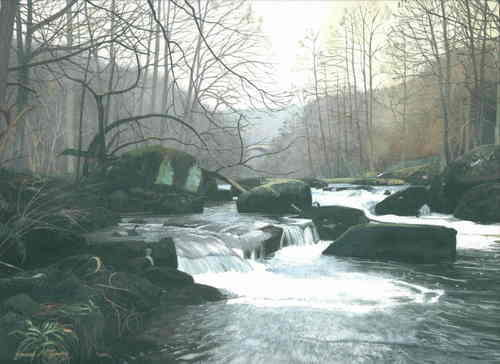River Esk, Winter. Gouache. 295 x 215 mm. Sold.