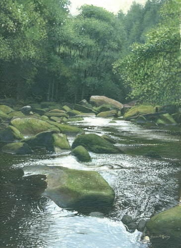 River Esk, East Arnecliff Wood #3 Acrylic. 2009. 175 x 250mm.