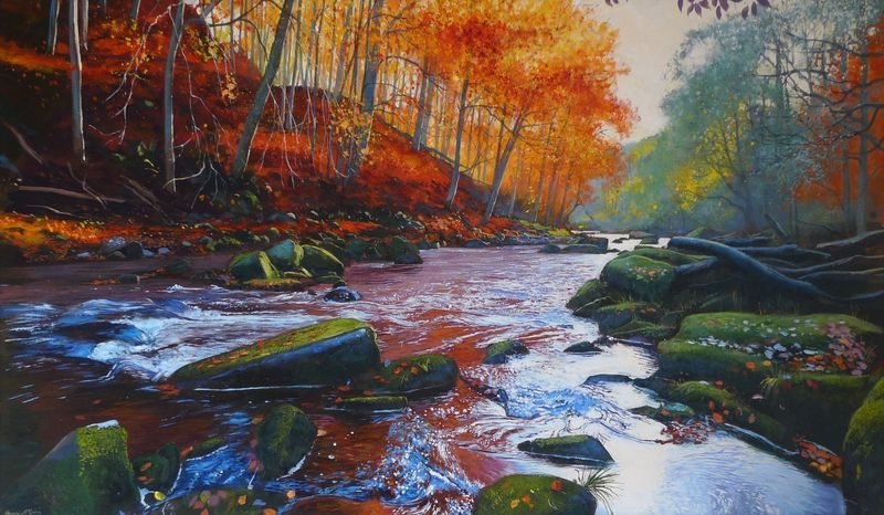 0010 River Esk, Autumn acrylic 2014. approx 560mm x 340mm SOLD